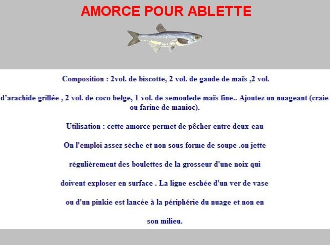 Amorces for Amorce maison pour gardon