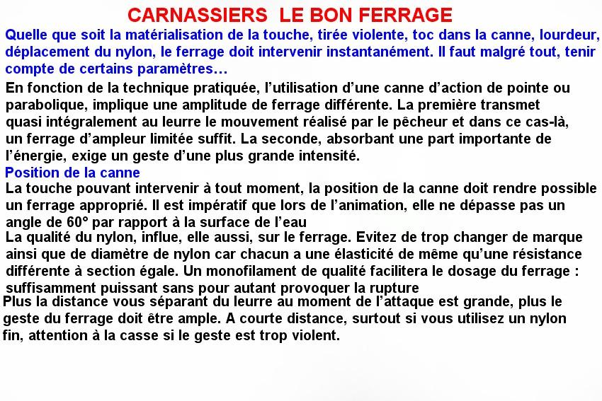 CARNASSIERS  LE BON FERRAGE