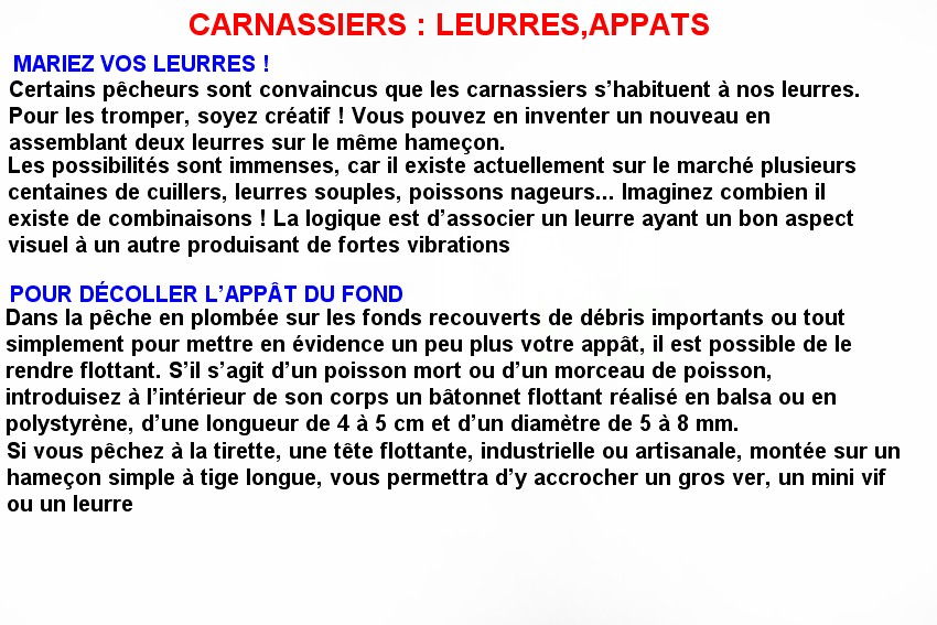 CARNASSIERS LEURRES APPATS