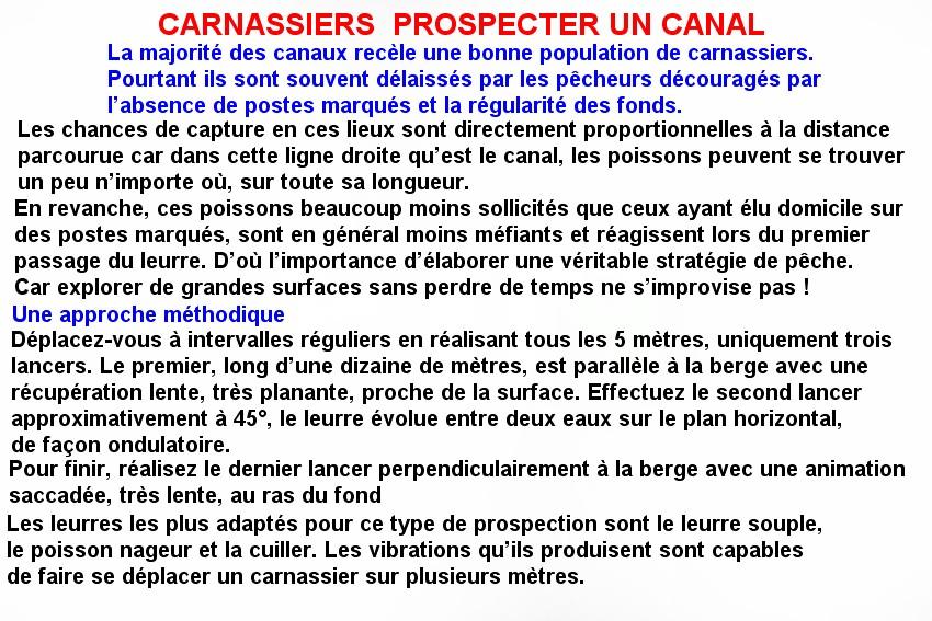 CARNASSIERS  PROSPECTER UN CANAL
