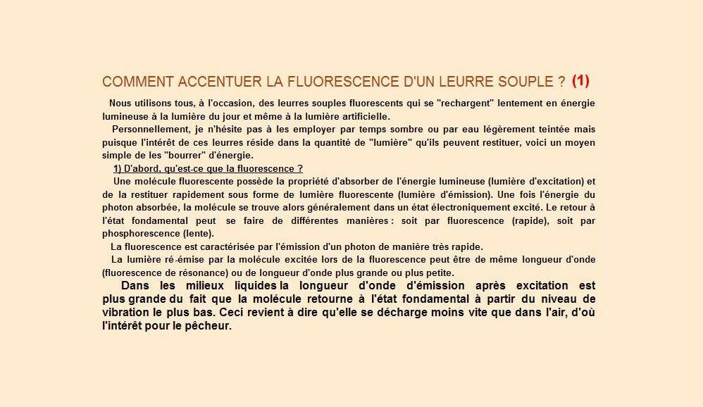 Comment accentuer la fluoresescence d'un leurre souple (1)