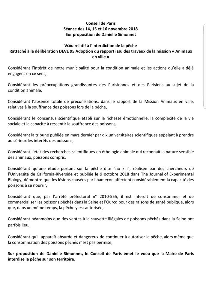 Demande de peche interdite à Paris (Novembre 2018)