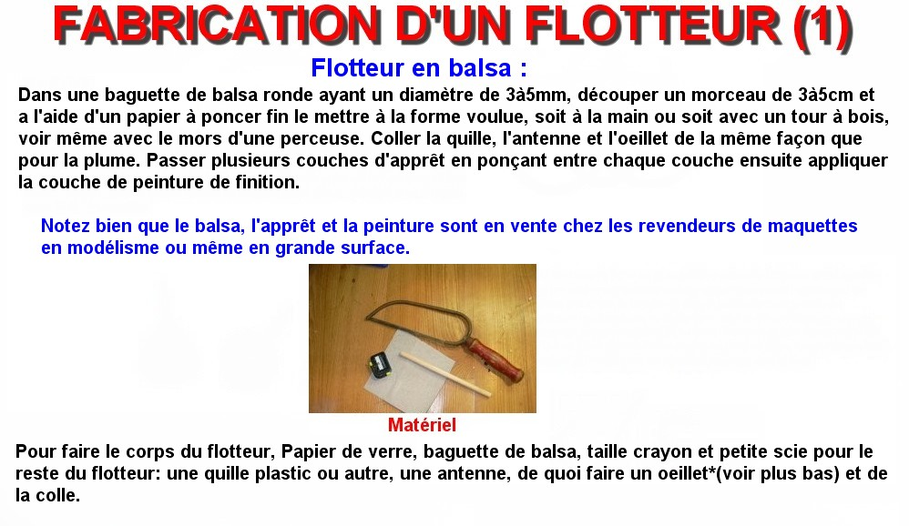 FABRICATION D'UN FLOTTEUR (1)