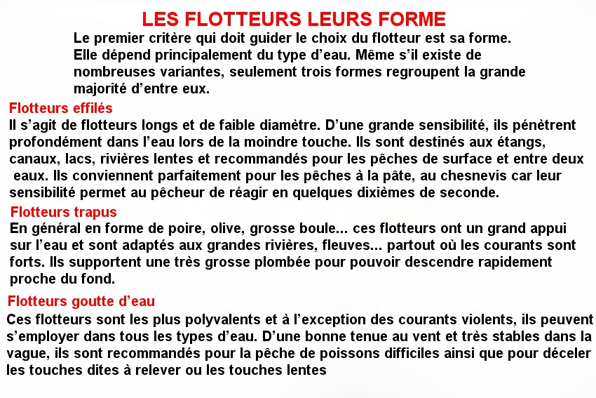 LES FLOTTEURS LEURS FORME(2)