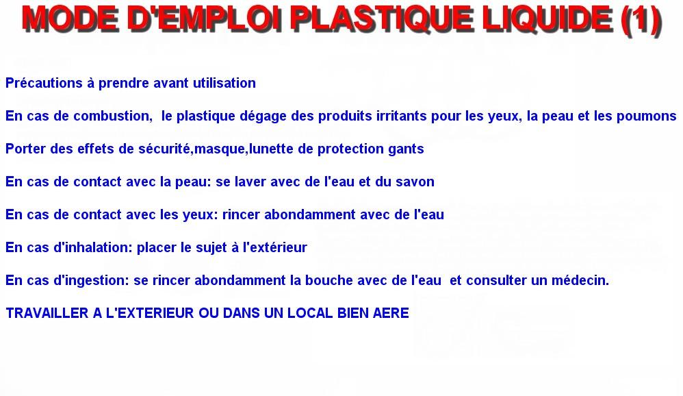 MODE D'EMPLOI PLASTIQUE LIQUIDE (1)