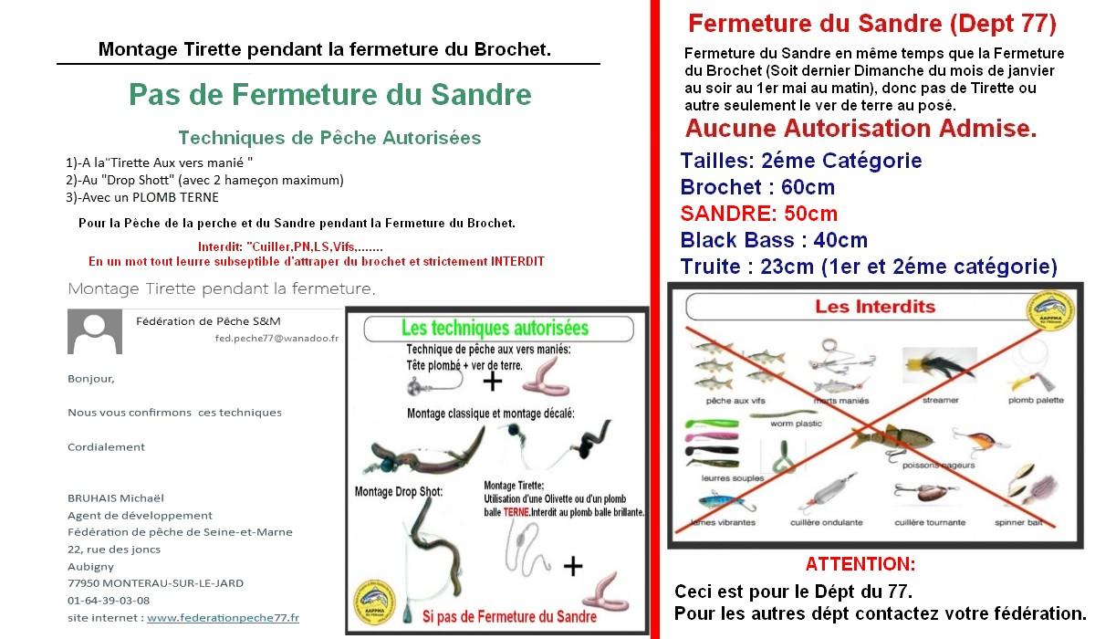 """Autorisé et Interdit dept 77 Le sandre est fermé """"Réouverture le 1er Mai 2018"""""""