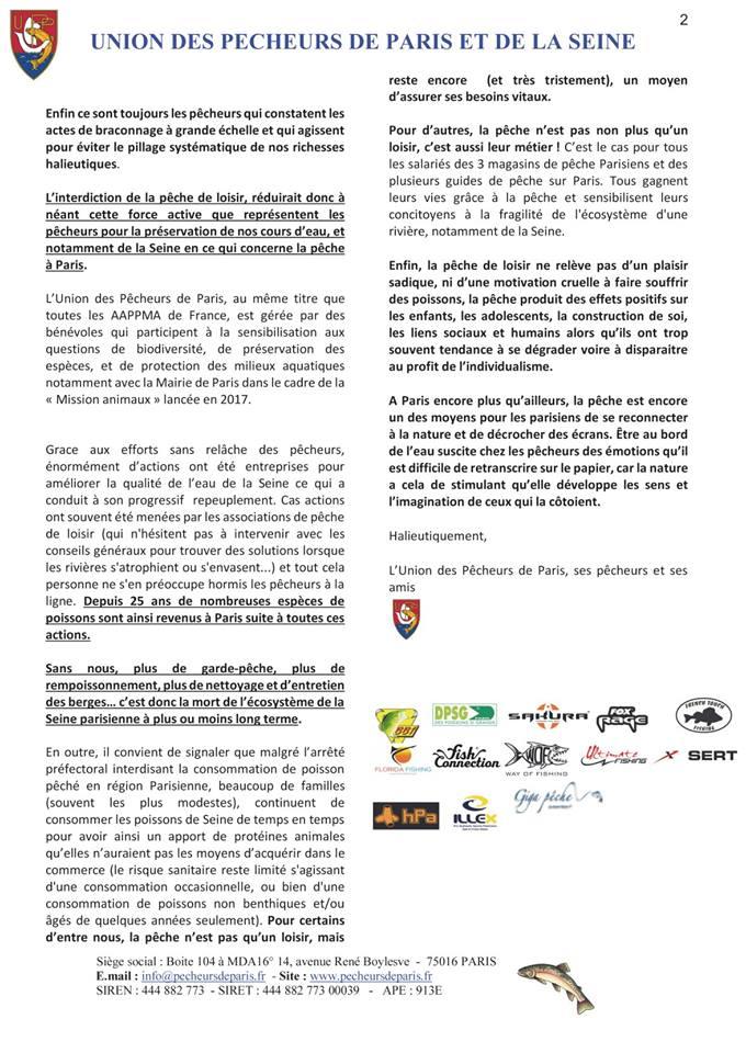 Pêche à Paris,L'interdiction