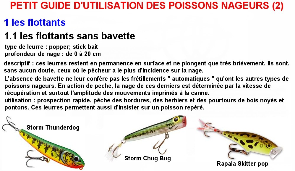 PETIT GUIDE D'UTILISATION DES POISSONS NAGEURS (2)
