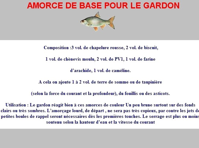 Amorce gardon maison avie home for Amorce maison pour carpe